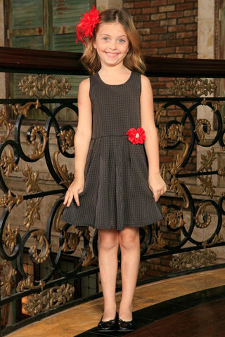 Black Grey Sleeveless Skater Fit & Flare Classy Party Dress - Girls
