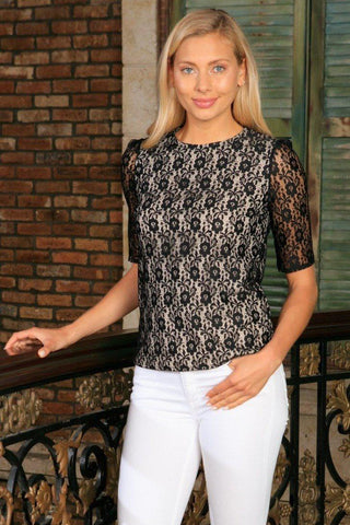 Black Lace 3/4 Sleeve Cute Trendy Dressy Evening Cocktail Top - Women