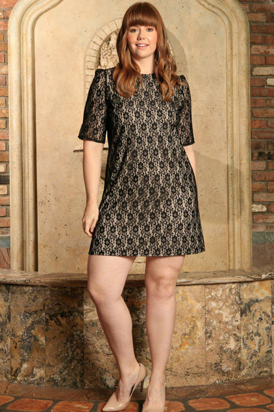 Black Lace 3/4 Sleeve Evening Cocktail Sexy Shift Dress - Women Plus Size