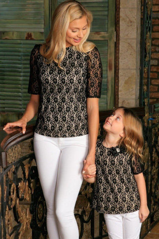 Black Lace Elbow 3/4 Sleeve Dressy Evening Party Mommy and Me Top - Pineapple Clothing