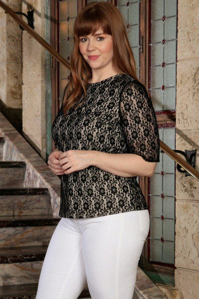 Black Lace Elbow Sleeve Party Evening Cocktail Sexy Top - Women Plus Size
