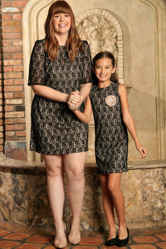 Black Lace Gorgeous Party Unique Shift Mommy and Me Dress Plus Size