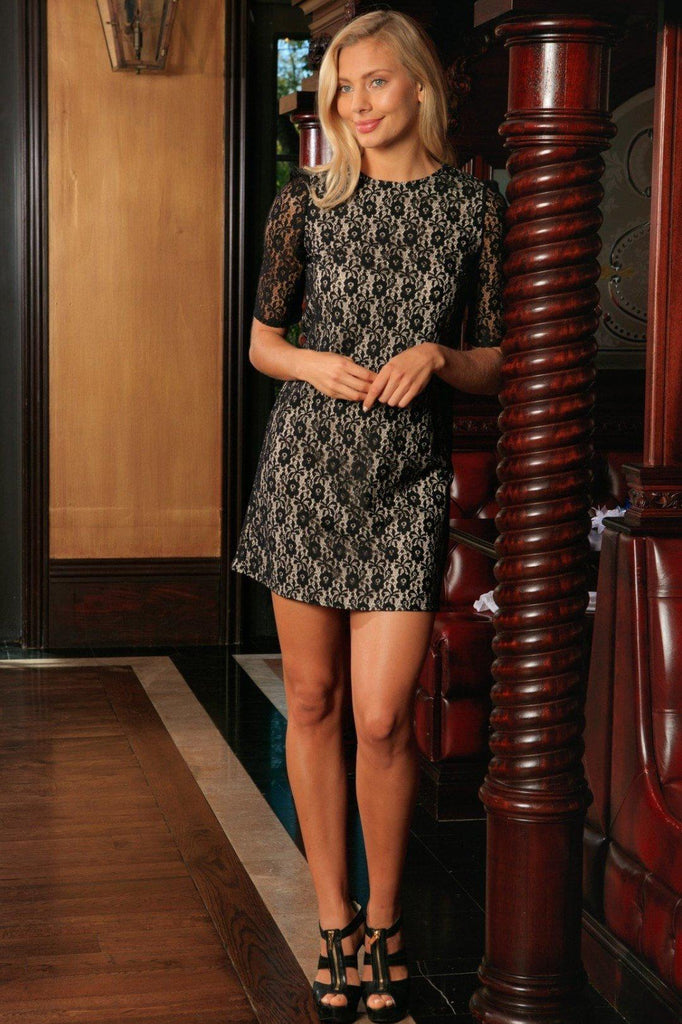 Black Lace Sleeved Evening Cocktail Party Shift Mini Dress - Women