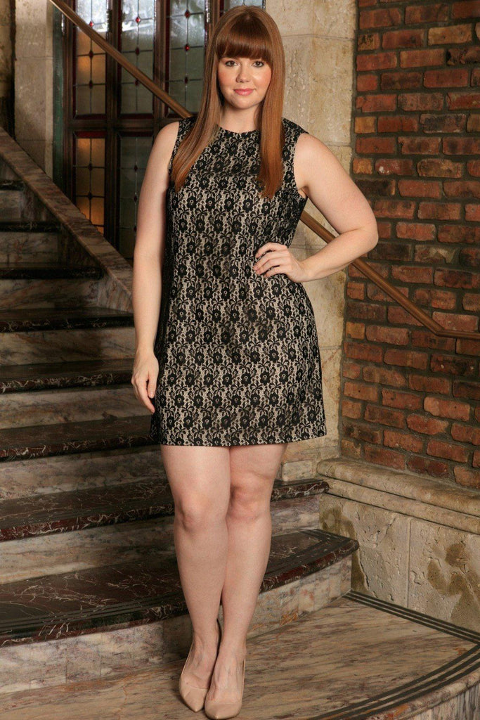 Black Lace Sleeveless Chic Evening Party Sexy Shift Dress - Women Plus Size