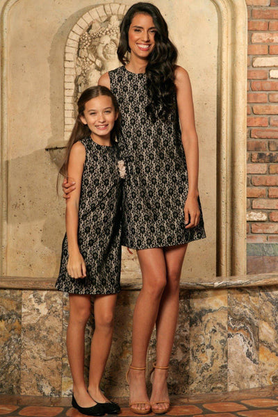 Black Lace Sleeveless Must-Have Chic Party Shift Mommy and Me Dresses
