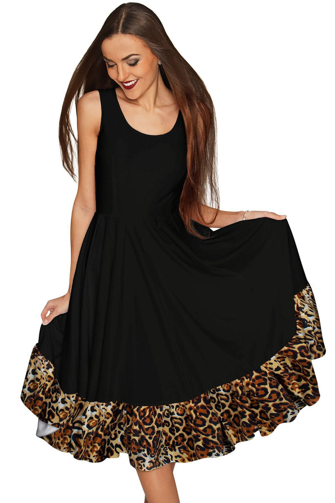 Black Leopard Vizcaya Fit & Flare Dress - Women - Pineapple Clothing
