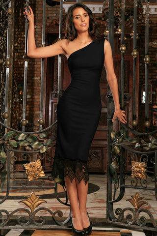 Black Stretchy One-Shoulder Bodycon Midi Dress - Women - Pineapple Clothing