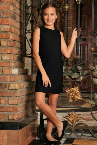 Black Stretchy Sleeveless Casual Party Shift Dress - Girls