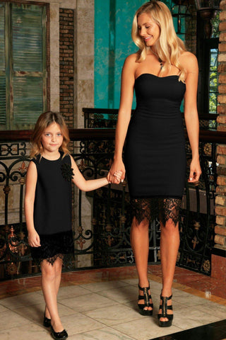 Black Stretchy Sleeveless Fancy Mother Daughter Dresses - Pineapple Clothing