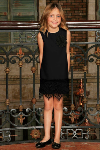 Black Stretchy Sleeveless Fancy Party Shift Dress with lace trim - Girls - Pineapple Clothing