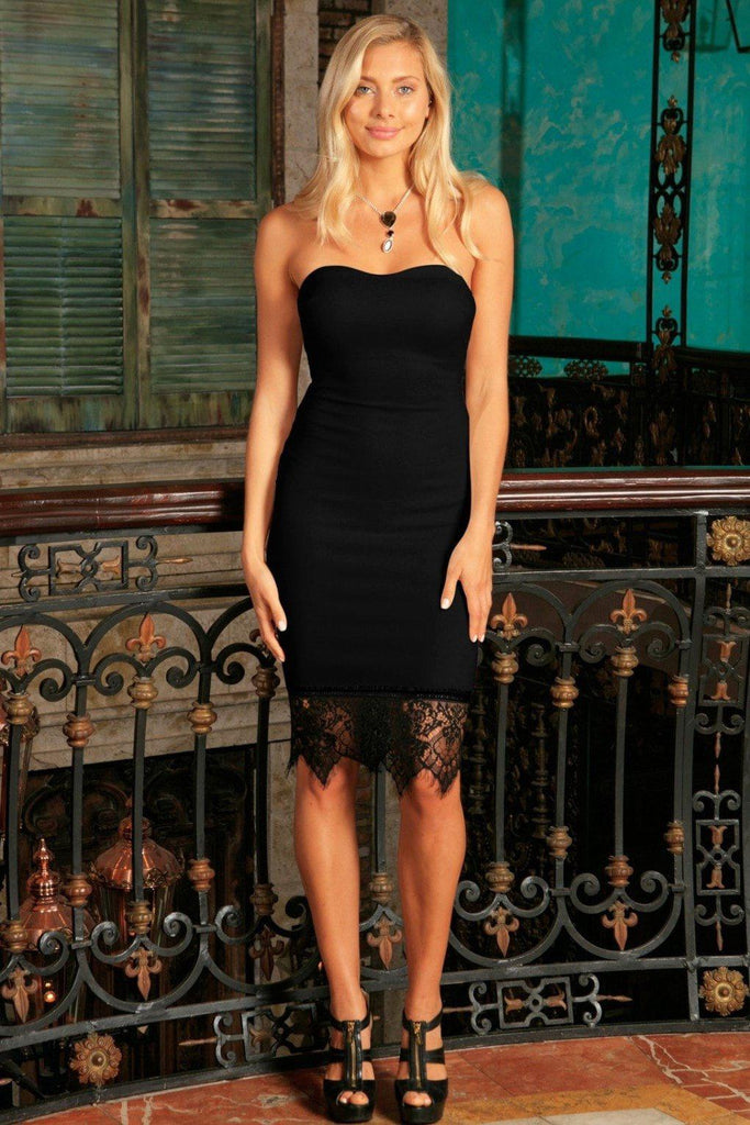 Black Stretchy Strapless Sweetheart Bodycon Cocktail Party Dress - Women - Pineapple Clothing
