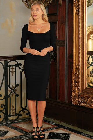 Black Stretchy Three-Quarter Sleeve Bodycon Party Midi Dress - Women