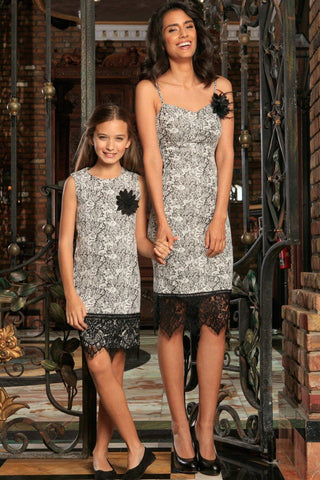 Black White Stretchy Fancy Cocktail Mommy and Me Dress - Pineapple Clothing
