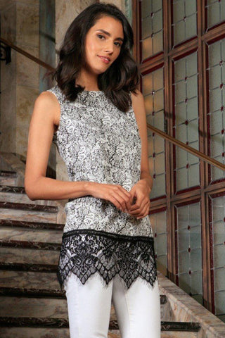 Black White Stretchy Sleeveless Trendy Dressy Top With Lace - Women