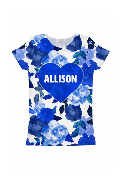 Blue Blood Customized NAME Zoe Heart Floral Tee - Girls