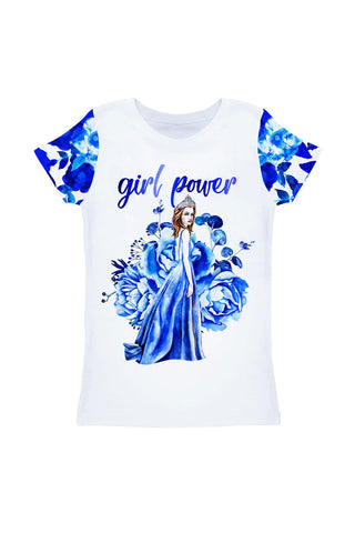 Blue Blood Zoe White & Blue Cute Printed T-Shirt - Girls - Pineapple Clothing