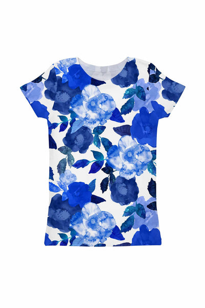 Blue Blood Zoe Floral Print Cute Designer Tee - Girls