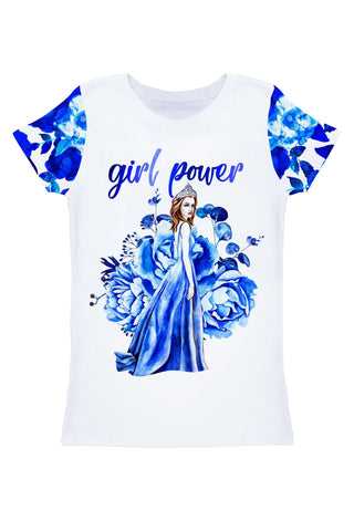 Blue Blood Zoe White & Blue Cute Printed T-Shirt - Women - Pineapple Clothing
