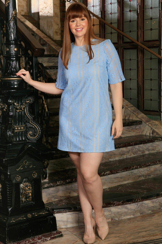 Blue Crochet Lace Half Sleeve Chic Party Sexy Shift Dress - Women Plus Size