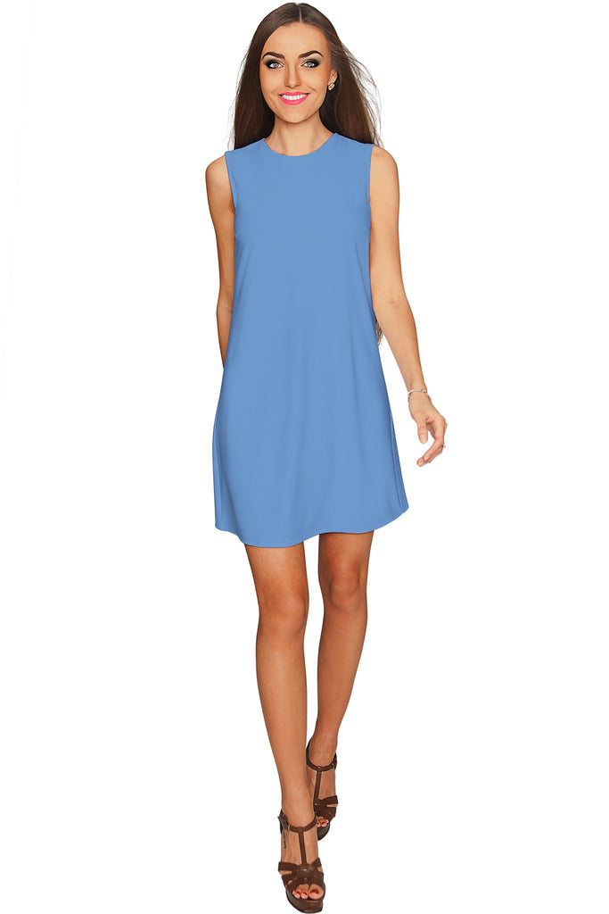 Blue Cute A-line Sleeveless Shift Party Dress - Women - Pineapple Clothing