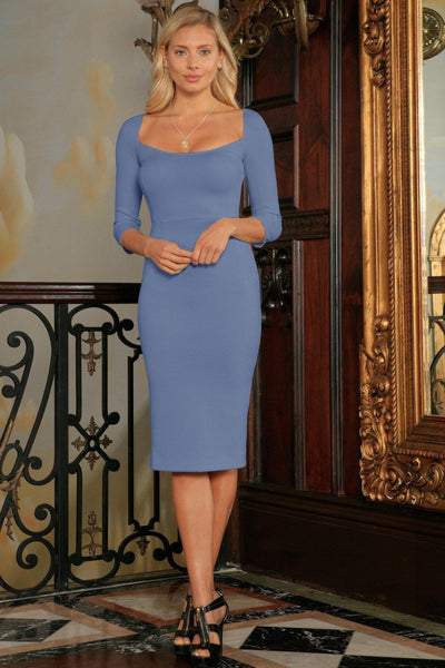 Blue Gray Sleeved Bodycon Fancy Cocktail Party Midi Dress - Women