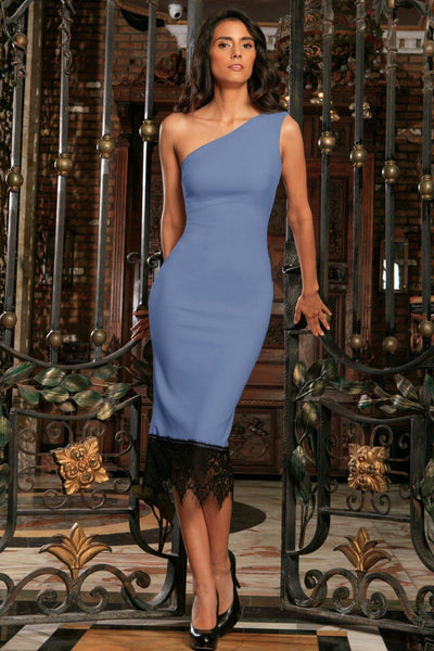 Blue Gray Stretchy One-Shoulder Bodycon Cocktail Midi Dress - Women