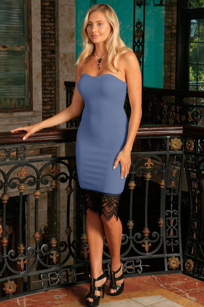 Blue Gray Stretchy Strapless Sweetheart Bodycon Cocktail Dress - Women