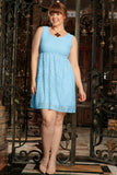 Blue Lace Trendy Empire Waist Sleeveless Party Dress - Women Plus Size