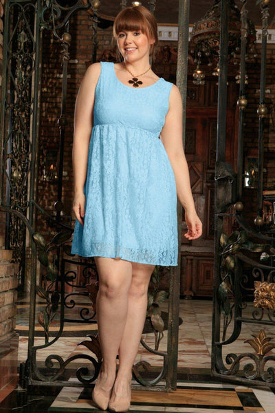Blue Lace Trendy Empire Waist Sleeveless Sexy Party Dress - Women Plus Size