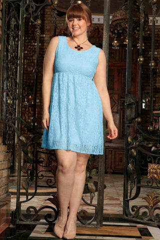 Blue Lace Empire Waist Sleeveless Party Curvy Dress Women Plus Size - Pineapple Clothing