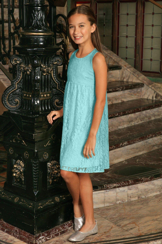 Blue Mint Stretchy Lace Empire Waist Sleeveless Dress - Girls