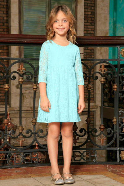 Blue Mint Stretchy Lace Empire Waist Three-Quarter Sleeve Dress - Girls