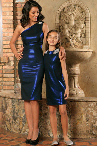 Blue Navy Stretchy Metallic Evening Chic Cocktail Mommy and Me Dress - Pineapple Clothing