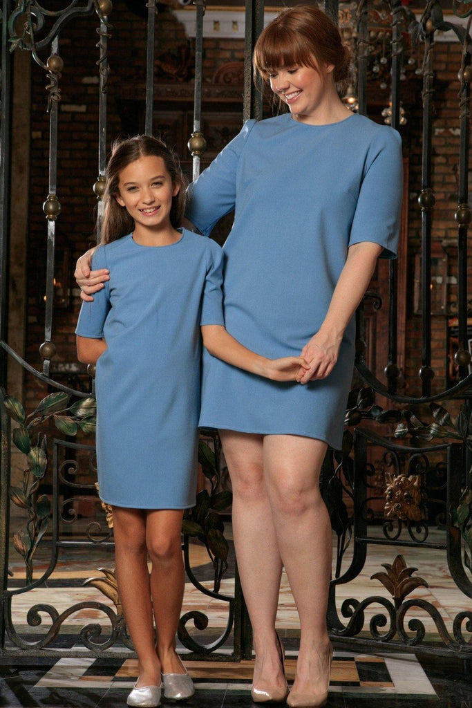 Blue Stretchy Elbow Sleeve Daytime Trendy Shift Mother Daughter Dress Plus Size - Pineapple Clothing