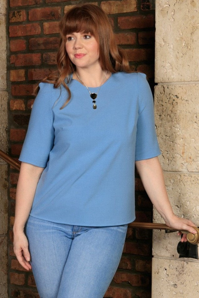 Blue Stretchy Elbow Sleeve Spring Classy Sexy Trendy Top - Women Plus Size