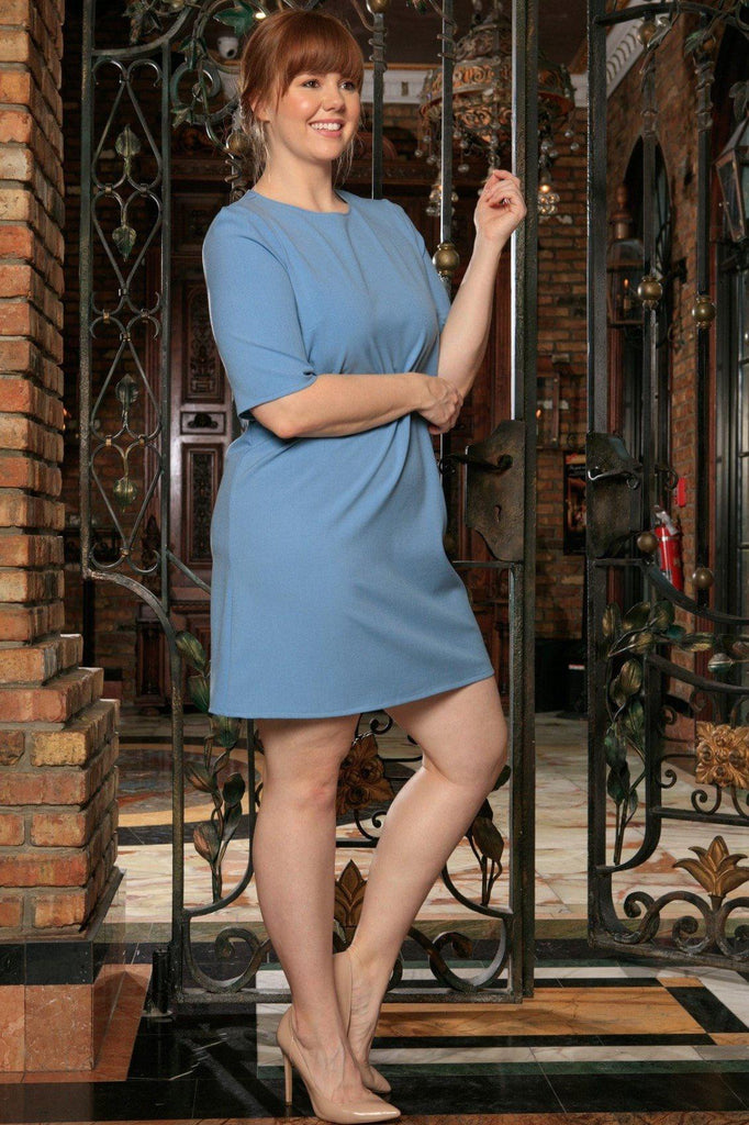 38ee8a50340 Blue Stretchy 3 4 Sleeve Trendy Work Shift Curvy Dress Women Plus Size -  Pineapple