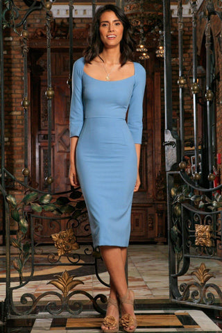 Blue Stretchy Half Sleeve Trendy Bodycon Cocktail Midi Dress - Women