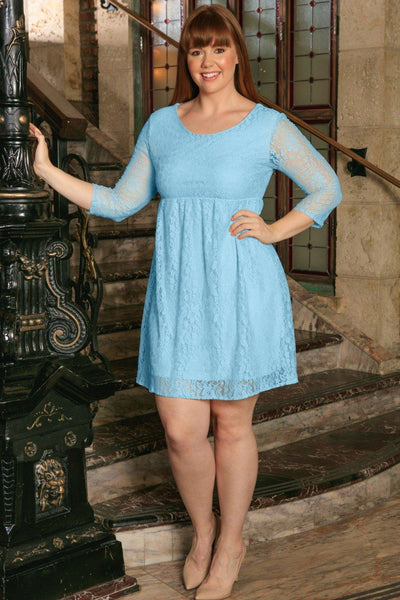 Blue Stretchy Lace Empire Waist 3/4 Sleeve Dress - Women Plus Size