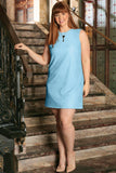 Blue Stretchy Lace Sleeveless Spring Sexy Shift Dress - Women Plus Size