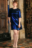 Blue Stretchy Metallic Sleeved Cocktail Sexy Shift Dress - Women Plus Size