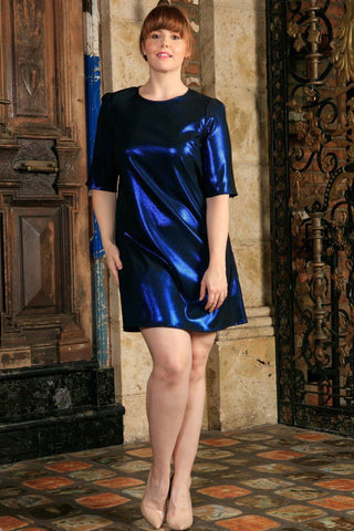 Blue Sparkly Metallic Sleeved Cocktail Club Sexy Curvy Dress Plus Size - Pineapple Clothing