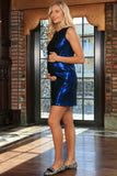 Blue Stretchy Metallic Sleeveless Party Shift Dress - Women Maternity