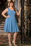Blue Stretchy Sleeveless Skater Fit & Flare Dress - Women Plus Size