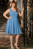 Blue Stretchy Sleeveless Spring Skater Midi Dress - Women