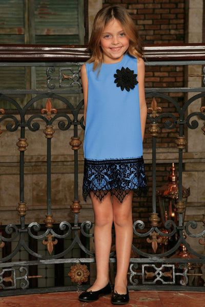Blue Stretchy Sleeveless Stylish Party Shift Dress with lace trim - Girls