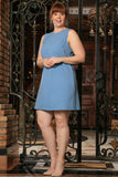 Blue Stretchy Sleeveless Trendy Spring Sexy Shift Dress - Women Plus Size