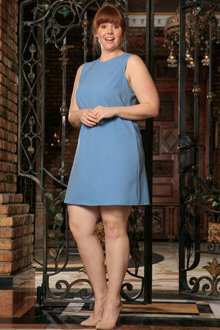 Blue Stretchy Sleeveless Trendy Curvy A-line Work Dress Plus Size