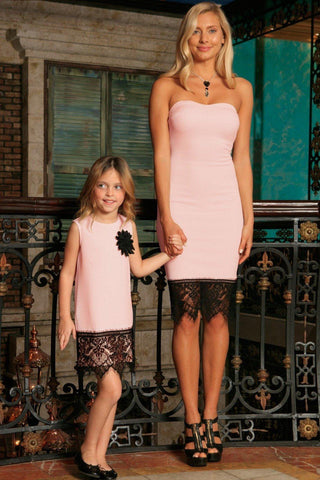 Blush Pink Stretchy Sleeveless Mother Daughter Dress