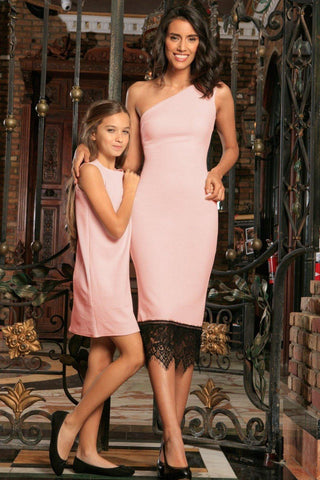 Blush Pink Stretchy Summer Party Cocktail Matching Mommy and Me Dress