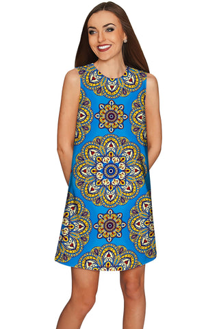 Boho Chic Adele Blue Geometric Pattern Shift Dress - Women - Pineapple Clothing